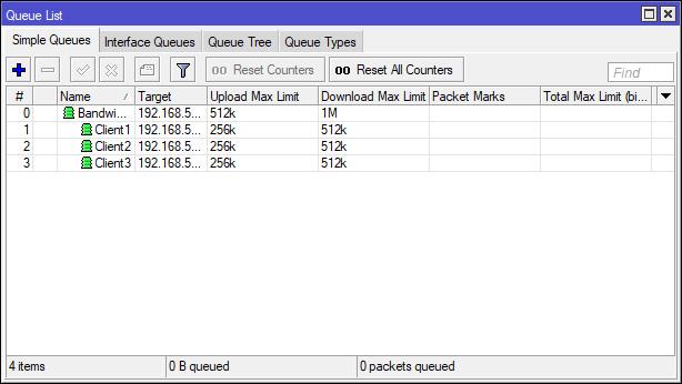Limit Bandwidth Share Simple Queue