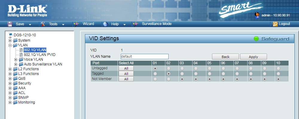 Settings Default ID Vlan
