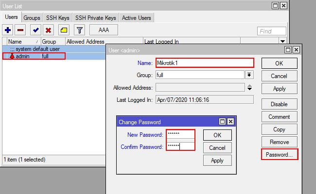 Mengganti Password Dan Username MikroTik