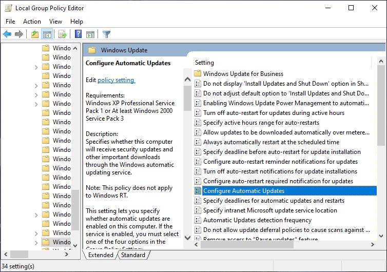 Configure Automatic Updates Windows 10