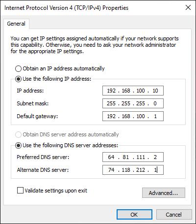 Konfigurasi IP DNS