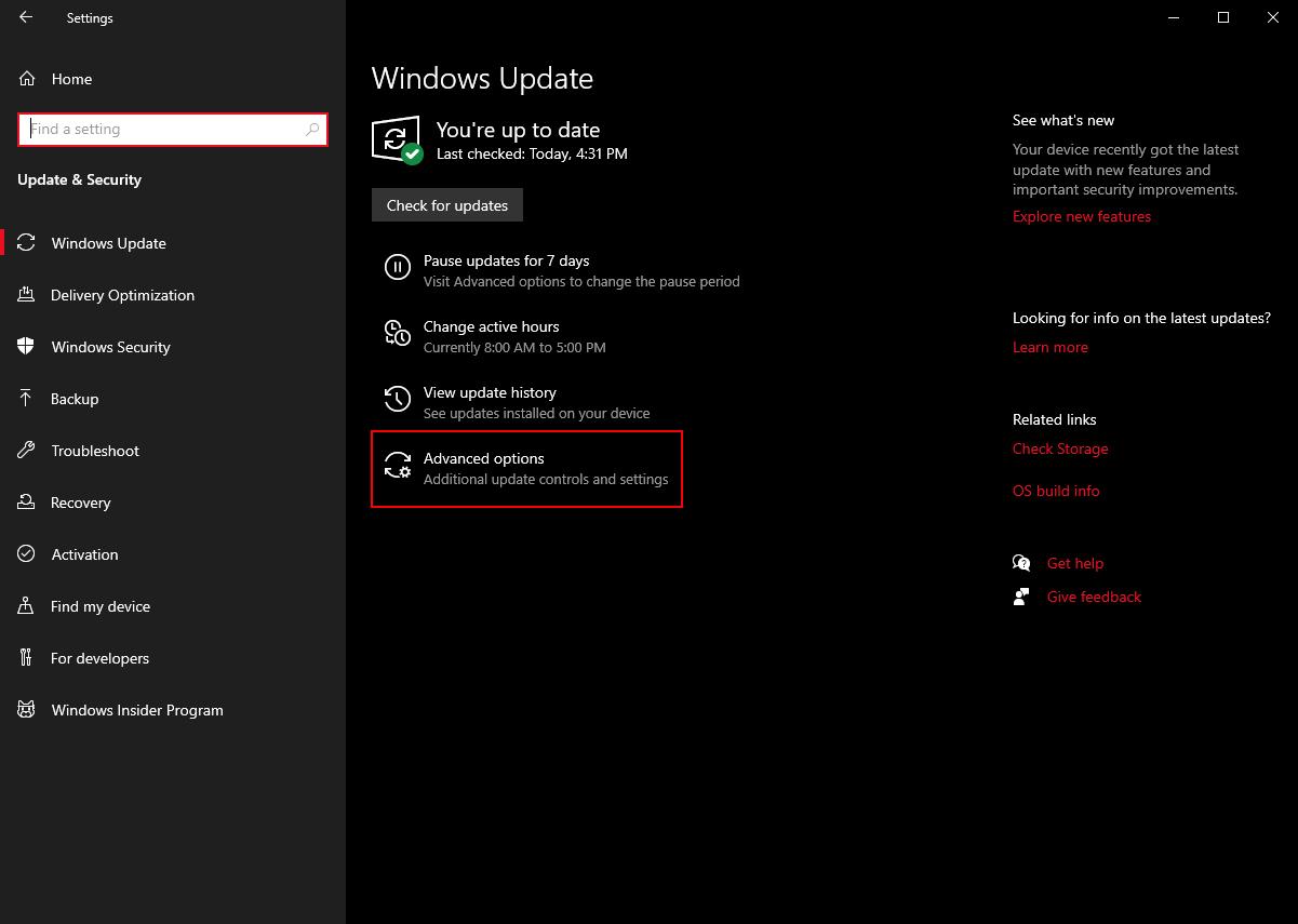 Windows Update Advanced Options Windows 10