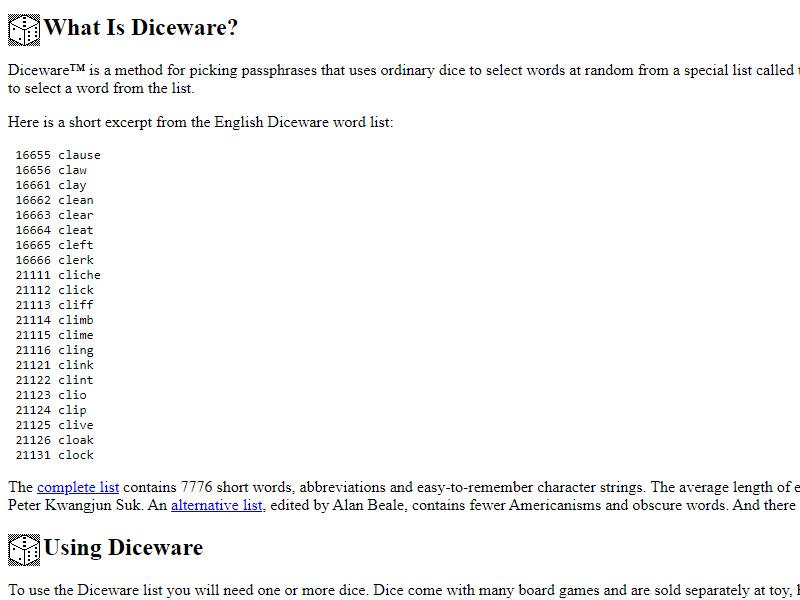 Diceware Passphrase