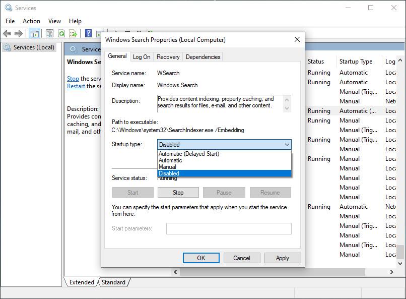 Nonaktifkan Windows Search