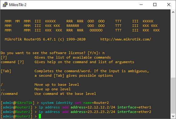 Konfigurasi IP Address MikroTik2 GNS3