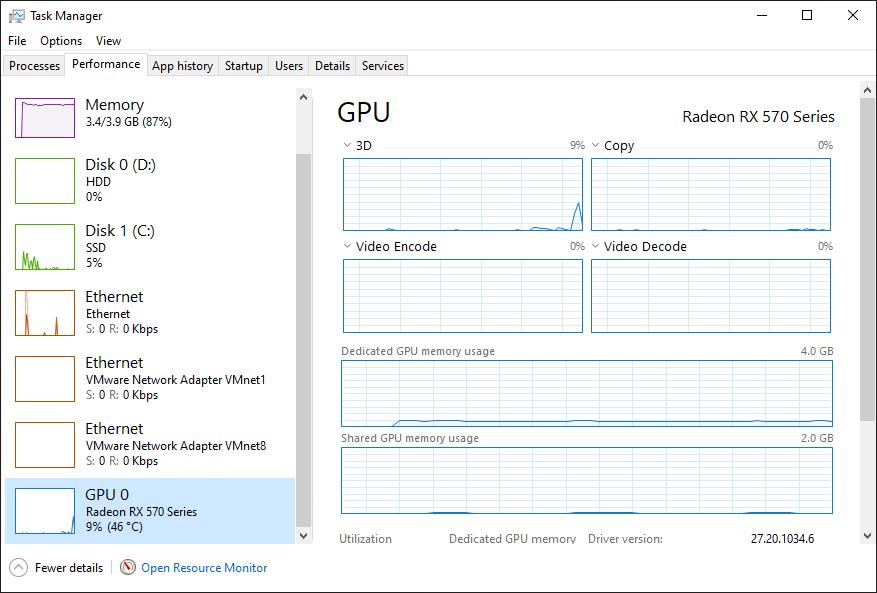 Check VGA Via Task Manager