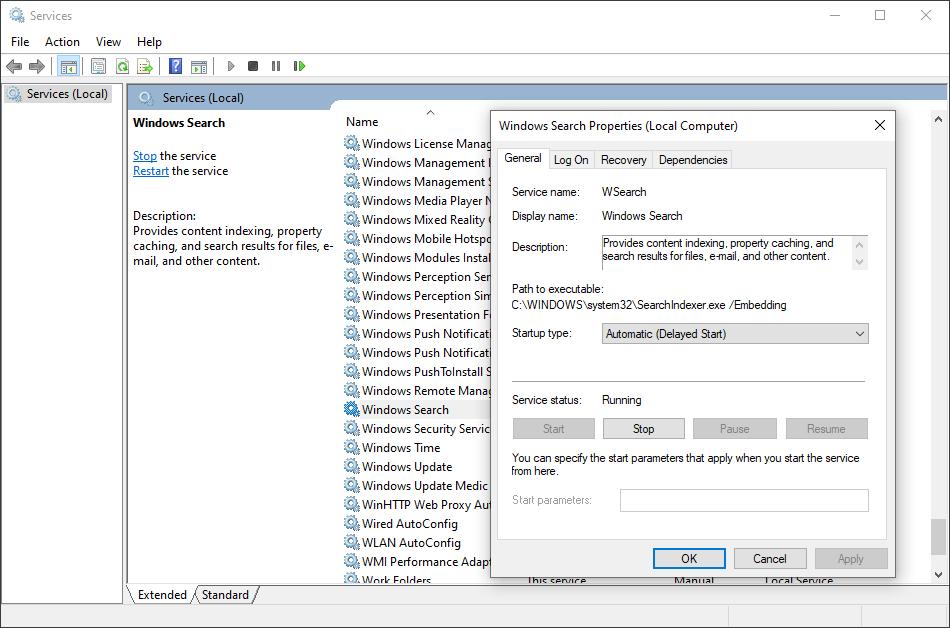 Buka Windows Search Service